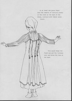"""Sketch of pleated linen dress and apron-dress with pleats in the back for fullness. Apparently from D. Rushworth, """"Handbook of Viking Women's Dress AD 700-1200"""""""