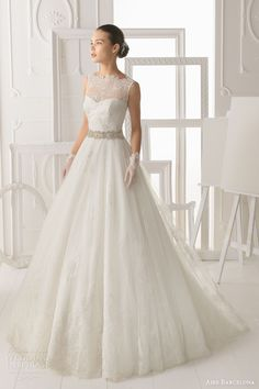 aire barcelona 2014 bridal omero sleeveless illusion lace neck wedding dress