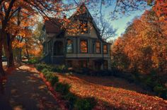 Lovely Victorian House in Autumn trees autumn leaves house fall colors victorian architecture Eureka Springs, Up House, Cozy House, All Nature, Autumn Home, Happy Autumn, Autumn Art, Victorian Homes, Victorian Life