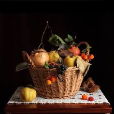"Saatchi Art Artist Cecilia Gilabert; Photography, ""Still life on basket with autumnal fruits"" #art"
