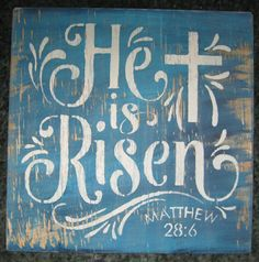 He is Risen.......... Wall Plaque Hangingwood// by hilltopprims