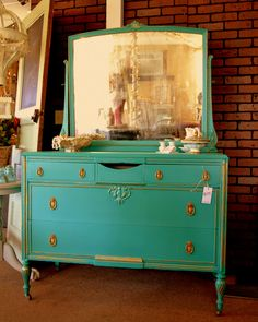Florence dresser--rubbed back to show original gold trim.