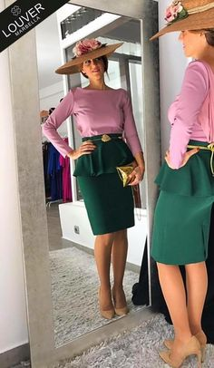 Lindo... Races Fashion, Skirt Fashion, Fashion Dresses, Skirt Outfits, Cool Outfits, Derby Outfits, Indian Outfits, African Fashion, Beautiful Outfits