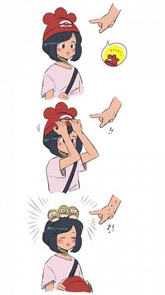 Tags: Anime, Pokémon, Rowlet, Female Protagonist (Pokemon Sun/Moon), !?, Exclamation Point, Jeto
