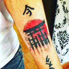 New Tattoo. Kanagawa wave, Miyajima's Torii and sub of Japan.
