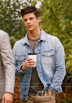 Barry's distressed denim jacket on The Flash. Outfit Details: https://wornontv.net/84076/ #TheFlash