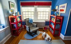 Inside the homes of Philly's interior designers | PhillyVoice.  Blue and red boys bedroom by down2earthdesign.