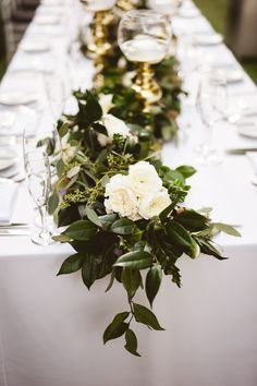 Avalon Palm Springs Wedding / Elegant White and Gold Decor / Greenery Table Runner / Michelle Garibay Events / Artisan Event Floral Decor / EP Love Photography