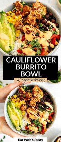 This vegan roasted cauliflower burrito bowl is easy to make, with tons of vegetables, cilantro lime rice, black beans and an easy chipotle cashew dressing. This vegan buddha bowl is healthy, gluten free and perfect for meal prep! Vegetarian Burrito, Quick Vegetarian Dinner, Vegan Burrito Bowls, Gluten Free Recipes For Dinner, Healthy Recipes, Taco Bowls, Meal Recipes, Healthy Meals, Roasted Califlower