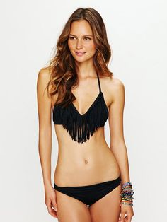 fringe bathing suit...WANT! oh and for my body to look like hers' : )