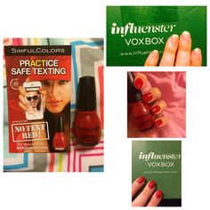 No text red by SinfulColors Nail Polish. Paint your nails red and help stop texting while driving! Influenster Dean's List VoxBox free products for testing.
