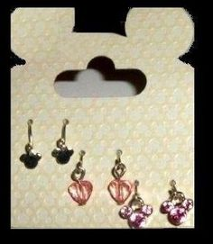 """Amazon.com: Mickey Mouse Signature Silhouette Disney """"Sweetheart Pink Trio"""" Austrian Crystal Officially Licensed Earrings, Gift-Boxed: Every..."""