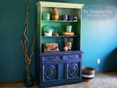 Ombre' Hutch / Bookshelf in Shades of Turquoise and Blue by TheTurquoiseIris on Etsy
