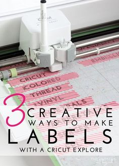 3 Creative Ways to Make Labels with a Cricut Explore   Use your favorite e-cutter to make a variety of labels for the bins, boxes and baskets all around your home!