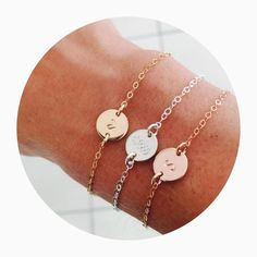 Sofia Bracelet - Small Pendant Bracelet. The perfect way to hold your special memories close to your heart. I can stamp names, roman numerals, dates, coordinates, initials - the options are endless. Perfect as a birthday, bridesmaid or thank you gift!