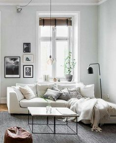 sofa with lounge, gallery wall, hanging pendant, pillows and throws