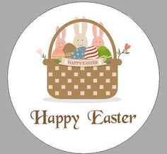 24 x 40mm personalised #stickers round happy #easter #bunny basket labels,  View more on the LINK: 	http://www.zeppy.io/product/gb/2/291973852824/