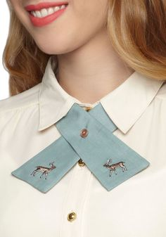 Raise the Hoof Collar Tie - International Designer, Green, Print with Animals, Buttons, Rustic, Pastel, Embroidery, Scholastic/Collegiate