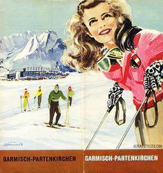 Garmisch partenkirchen germany vintage ski travel brochure