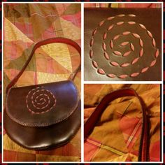 Vintage leather purse Beautiful red and brown leather.  Excellent condition. Vintage Bags