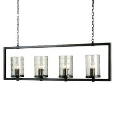 Clean lines and fine details are eloquently articulated in the Longhope Rectangular Chandelier, a sophisticated fixture perfect for spaces where an elongated piece is needed. The linear design of the Bronze Gold frame draws the eye squarely toward four seeded glass cylinders, giving this piece the perfect amount of embellishment.    Number of bulbs: 12  Chain length: 6 feet