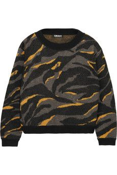 DKNY Printed boiled wool sweater | NET-A-PORTER