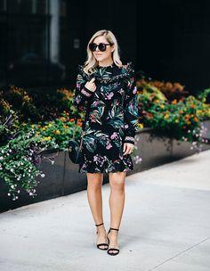 black embroidered floral dress, Gucci Marmont black bag