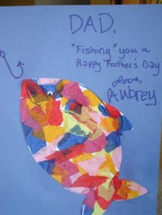 Father's Day craft: tissue paper collage fish card. We did this in kid's church last sunday.