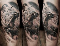 Black and gray Sagittarius on mans leg. Artist Janis Andersons #Sagittarius #horoscope #gagittariushoroscope #tattoo #Sagittariustattoo #blackandgray #blackngray #legtattoo #manwithtattoos #horoscopetattoo #riga #tattooinriga #tattooed #art #tattooink  #ink #inked #skin #tattooartist #tattoofrequency #share #like #follow