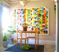 Paint Chip Art seems like such a great way to get big statement pieces in a kid's room with only a small investement of time, effort and money.