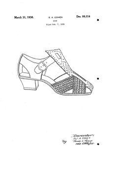 1936 DESIGN FOR A SHOE  Eli A. Cohen