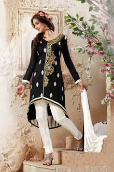 Thankar Designer Black And White Straight Suit  #SalwarSuit #BuySalwarSuitsOnline #DressesOnlineShopping #SalwarSuitsOnlineShopping #dresses