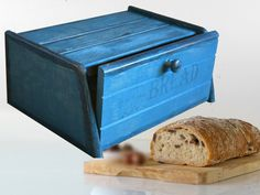 PERFECT Primitive BREAD BOX Bin Distressed  Blue Rustic by old24
