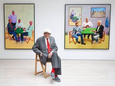 British artist David Hockney poses in the exhibition of his new works Painting and Photography at the Annely Juda Fine Art gallery in London, England, United Kingdom, 2015, photograph by Andy Rain.