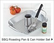 BBQ Roasting Pan and Can Holder Set