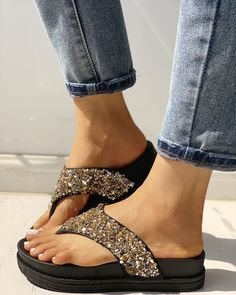 Glitter Sequin Embellished Toe Post Muffin Sandals Shop- Women's Best Online Shopping - Offering Huge Discounts on Dresses, Lingerie , Jumpsuits , Swimwear, Tops and More. Flat Gladiator Sandals, Strap Sandals, Shoes Sandals, Trend Fashion, Fashion Shoes, Latest Fashion, Open Toe Flats, Studded Flats, Trends