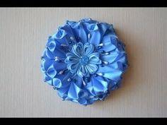 Круглый цветок из атласных лент 2.5см канзаши DIY kanzashi hair ornament handmade - YouTube