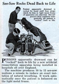 """""""Seesaw Rocks Dead Back to Life"""": Modern Mechanix, July 1934 Vintage Advertisements, Vintage Ads, Retro Ads, Post Mortem, Pseudo Science, Vintage Medical, Seesaw, After Life, Medical Science"""