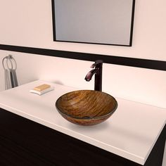 Found it at Wayfair Supply - Amber Sunset Glass Vessel Bathroom Sink with Otis Faucet