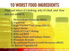 10 Of The Worst Ingredients Found In Food - MSG, Artificial Colours, Bleached White Flour, High-Fructose Corn Syrup, Artificial Sweeteners, BHT (Butylated Hydroxytoluene), Partially Hydrogenated Oil