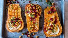 baked butternut squash with hummus, spicy chickpeas and pomegranate Baked Butternut Squash, Pumpkin Spice Latte, Avocado Toast, Vegetable Pizza, Hummus, Zucchini, Vegetarian Recipes, Spicy, Food And Drink