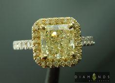1.61ct U-V SI1 Radiant Cut Diamond Halo Ring GIA $7,995 #yellowdiamond #cushion #prettydiamondring #engagementdiamondring #bridalring #propose #gift #weddingring #handmade #beautiful #customjewelry #diamondjewelry #luxuryjewelry
