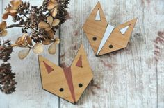 Cute Fox Wooden Brooch