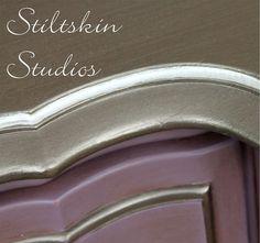 A gorgeous dresser accented in Modern Masters Smoke Metallic Paint   By Stiltskin Studios