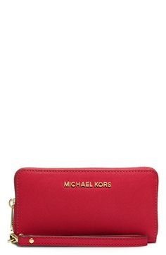 MICHAEL Michael Kors Large Jet Set Saffiano Leather Phone Wristlet available at #Nordstrom