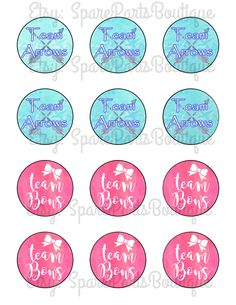 Team bows or arrows gender reveal cupcake toppers- instant download! by SparePartsBoutique on Etsy https://www.etsy.com/listing/292839191/team-bows-or-arrows-gender-reveal