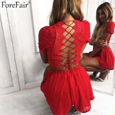 Hot Offer Forefair 2018 New Fashion Back Lace-Up Sets 2 Piece Set Women Sexy Short Sleeve Backless Crop Top Femme Red Black Shorts Suits . Beach Dresses, Casual Dresses, Short Dresses, Mini Dresses, Casual Outfits, Two Piece Rompers, Womens Bodysuit, Short Tops, Short Set