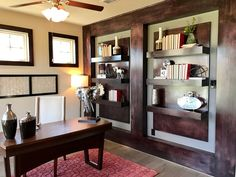 Interesting version of office wall with shelves