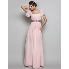 TS Couture® Prom / Formal Evening / Military Ball Dress - Open Back Plus Size / Petite Sheath / Column Square Floor-length Chiffon with Beading / – USD $ 79.99