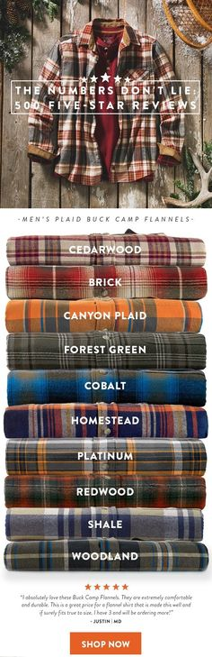 Men's Plaid Buck Camp Flannels